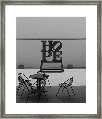 Hope And Chairs In Black And White Framed Print by Rob Hans