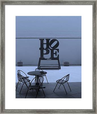 Hope And Chairs In Cyan Framed Print by Rob Hans