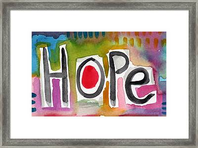 Hope- Colorful Abstract Painting Framed Print by Linda Woods