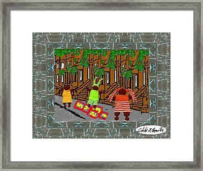 Hopscotch In Harlem Framed Print by Cibeles Gonzalez