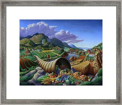 Horn Of Plenty - Cornucopia - Autumn Thanksgiving Harvest Landscape Oil Painting - Food Abundance Framed Print by Walt Curlee
