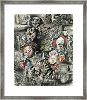 Horror Movie Murderers Framed Print by Daniel  Ayala