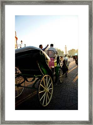 Horse And Buggy In The Al Fna Square Marr Framed Print by David Smith