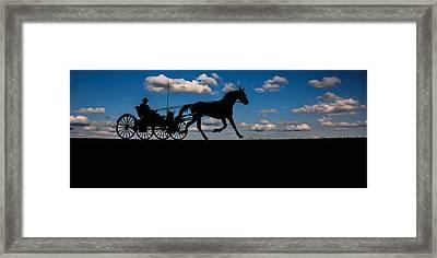 Horse And Buggy Mennonite Framed Print by Henry Kowalski