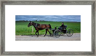 Horse And Buggy On The Farm Framed Print by Henry Kowalski