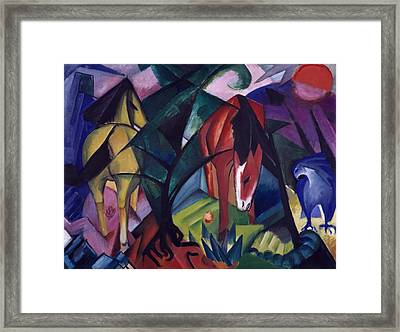 Horse And Eagle Framed Print by Franz Marc