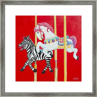 Horse And Zebra Carousel Framed Print by Jan Matson