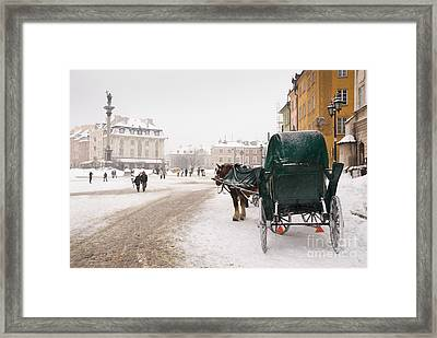Horse And Droshky Bide For Tourists  Framed Print by Arletta Cwalina