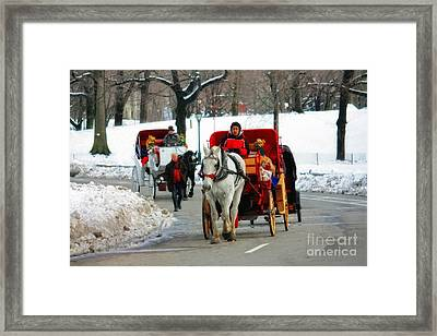 Horse Carriage Rides In The Snow In Central Park Framed Print by Nishanth Gopinathan
