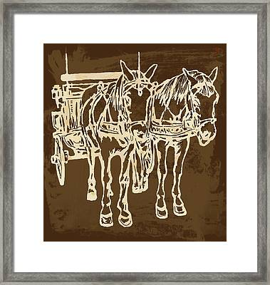 Horse Carriage - Stylised Pop Modern Etching Art Portrait - 1 Framed Print by Kim Wang