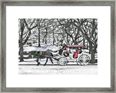 Horse Drawn Carriage In Nyc Framed Print by Elaine Plesser