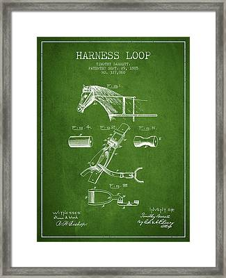 Horse Harness Loop Patent From 1885 - Green Framed Print by Aged Pixel