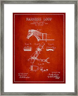 Horse Harness Loop Patent From 1885 - Red Framed Print by Aged Pixel