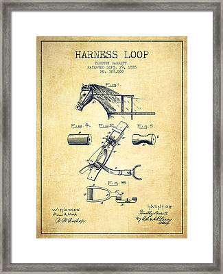 Horse Harness Loop Patent From 1885 - Vintage Framed Print by Aged Pixel