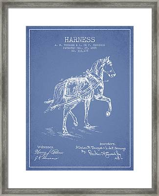 Horse Harness Patent From 1885 - Light Blue Framed Print by Aged Pixel