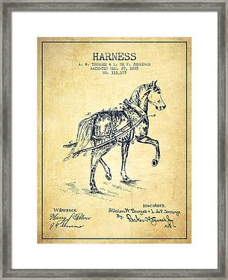 Horse Harness Patent From 1885 - Vintage Framed Print by Aged Pixel
