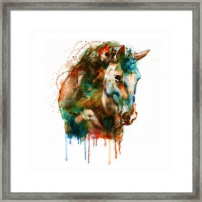 Horse Head Watercolor Framed Print by Marian Voicu