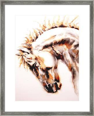Horse I White Framed Print by Jose Espinoza
