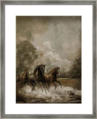 Horse Painting Escaping The Storm Framed Print by Regina Femrite