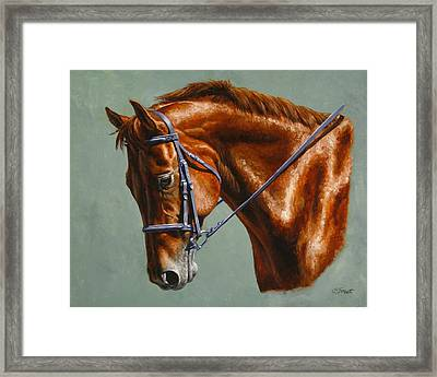 Horse Painting - Focus Framed Print by Crista Forest