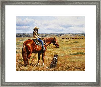 Horse Painting - Waiting For Dad Framed Print by Crista Forest