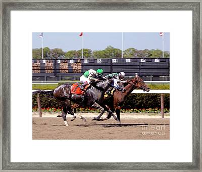 Horse Race - Close To The Finish Line Framed Print by Anthony Morretta