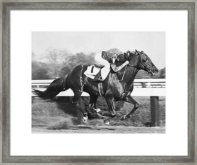 Horse Racing At Pimlico Track Framed Print by Underwood Archives