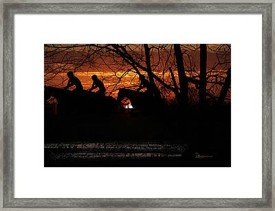 Horse Racing At Sun Downs - Featured In Comfortable Art And Nature Wildlife Groups Framed Print by EricaMaxine  Price