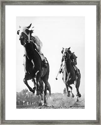 Horse Racing At Tanforan Track Framed Print by Underwood Archives