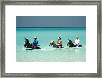 Horse Riders In The Surf Framed Print by David Smith