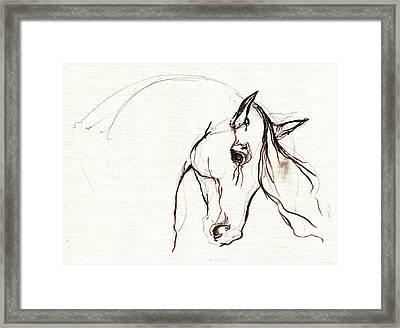 Horse Sketch Framed Print by Angel  Tarantella