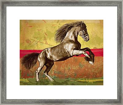 Horse Stylised Pop Art Drawing Potrait Poser Framed Print by Kim Wang