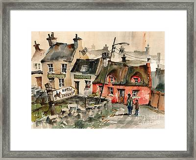 Horse Treeking In Doolin  Clare Framed Print by Val Byrne