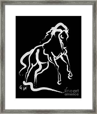 Horse White Runner Framed Print by Go Van Kampen