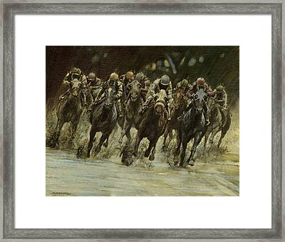 Horseracing In Rain Framed Print by Don  Langeneckert