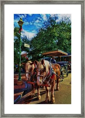 Horses - The Clydesdales In Christmas  Framed Print by Lee Dos Santos