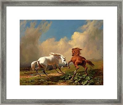 Horses Balking At Approaching Storm Framed Print by Rudolf Koller
