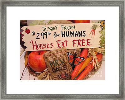 Horses Eat Free Framed Print by Catherine Howley