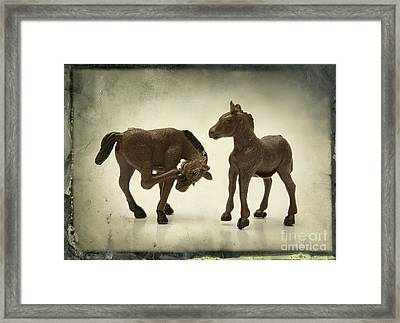 Horses Figurines Framed Print by Bernard Jaubert