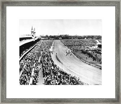 Horses In Action At Vintage Churchill Downs Race Framed Print by Retro Images Archive