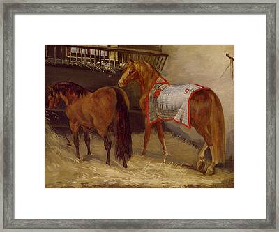 Horses In The Stables  Framed Print by Theodore Gericault