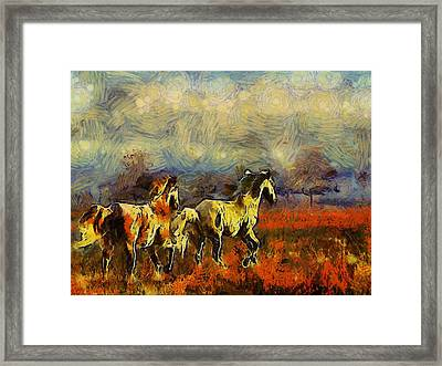 Horses On The Gogh Framed Print by Shannon Story
