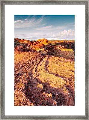 Horseshoe Bend Colorado River Glenn Canyon Sandstone Waves Bathed By Golden Light Framed Print by Silvio Ligutti