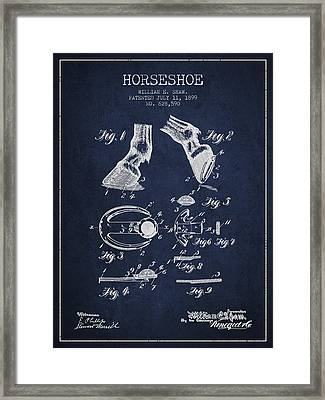 Horseshoe Patent From 1899 - Navy Blue Framed Print by Aged Pixel