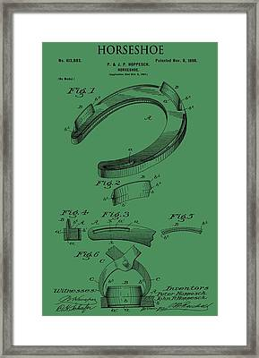 Horseshoe Patent On Green Framed Print by Dan Sproul