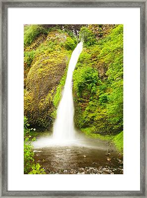 Horsetail Falls In The Spring Framed Print by Jeff Swan