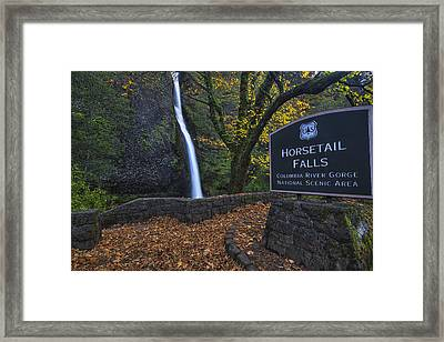Horsetail Falls With Sign Framed Print by Mark Kiver
