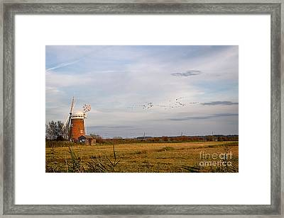 Horsey Windmill In Autumn Framed Print by Louise Heusinkveld