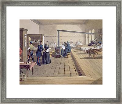 Hospital At Scutari, Detail Of Florence Framed Print by William 'Crimea' Simpson