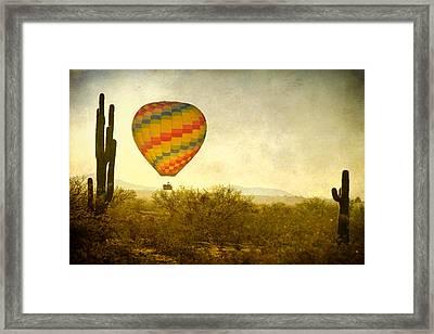 Hot Air Balloon Flight Over The Southwest Desert Fine Art Print  Framed Print by James BO  Insogna